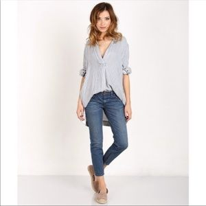 Free people on the road tunic striped grey white